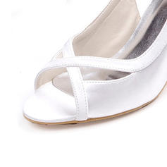 Frauen Seide wie Satin Stöckel Absatz Peep-Toe Sandalen