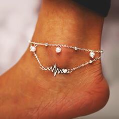 Refroidir En couches Alliage avec Coeur Lightning Bracelets de cheville (Lot de 2)