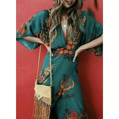Print 3/4 Sleeves Sheath Casual/Vacation Midi Dresses