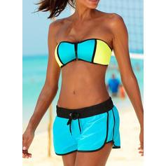 Splice color Neon Strap Sports Bikinis Swimsuits