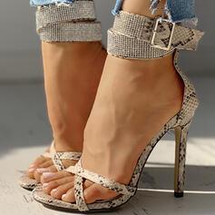 Dla kobiet PU Obcas Stiletto Sandały Otwarty Nosek Buta Z Klamra Nadruk Zwierzęcy obuwie