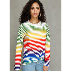 Color Block Striped Round Neck Long Sleeves Casual Christmas Knit Blouses