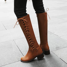 Women's Leatherette Chunky Heel Boots Mid-Calf Boots With Lace-up shoes