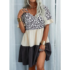 Color-block/Leopard Korte ærmer Shift Over knæet Casual Tunika Kjoler