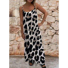 Leopard Sleeveless Shift Sexy/Casual Maxi Dresses