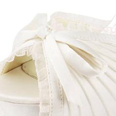 Frauen Spitze Satiniert Stöckel Absatz Plateauschuh Sandalen mit Flakem Schnalle