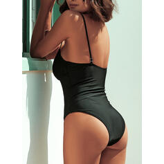 Solid Color Strap Sexy Fresh One-piece Swimsuits