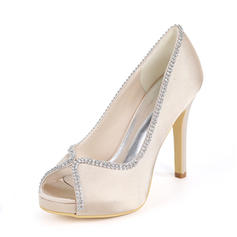 3d0146fc0cfc quick view Women s Silk Like Satin Stiletto Heel Peep Toe Platform Pumps  With Rhinestone
