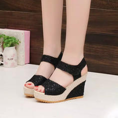 Women's PU Wedge Heel Sandals Platform Wedges Peep Toe With Velcro shoes