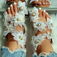 Dla kobiet Tkanina Płaski Obcas Sandały Otwarty Nosek Buta Z Imitacja Pereł Kwiaty obuwie