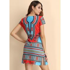 Print/Geometric Print Short Sleeves Sheath Above Knee Casual/Boho/Vacation Dresses
