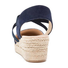 Femmes Tissu Talon compensé Sandales avec Dentelle chaussures