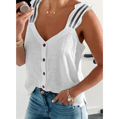 Solid V-Neck Sleeveless Tank Tops