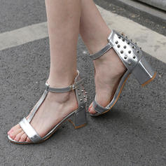 Women's Patent Leather Chunky Heel Sandals Pumps With Rivet shoes