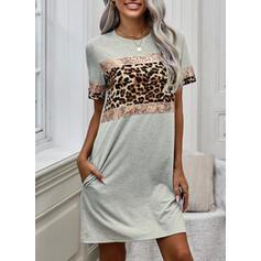 Color Block/Leopard Short Sleeves Shift Above Knee Casual T-shirt Dresses