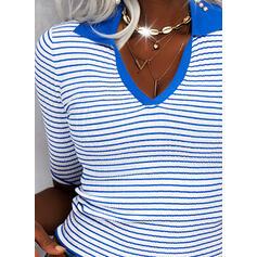 Druck Gestreift Revers Lässige Kleidung Pullover