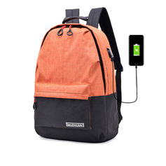 Women's USB Charger Contrast Color Zipper Canvas Backpacks