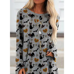 Animal Print Halloween Round Neck Long Sleeves Sweatshirt