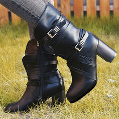 Women's PU Chunky Heel Pumps Closed Toe Boots Mid-Calf Boots With Buckle Zipper shoes