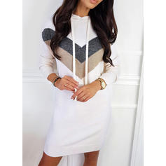 Color Block Hooded Sweater Dress