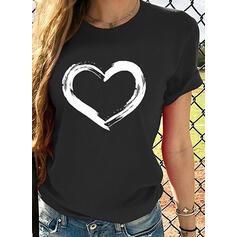 Drucken Rundhalsausschnitt Kurze Ärmel Freizeit T-shirts