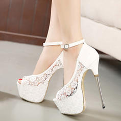 Women's Suede Stiletto Heel Platform Peep Toe shoes