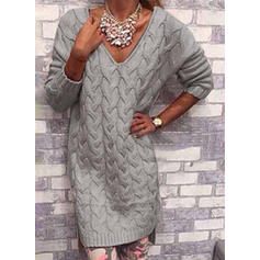 Solid Cable-knit Chunky knit V neck Sweater Dress