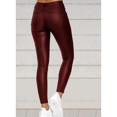 Couleur Unie Grande taille Élégante Sexy Cuir Pantalon