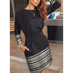 Print Long Sleeves A-line Above Knee Little Black/Casual Dresses