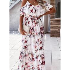 Impresión/Floral Mangas 1/2 Acampanado Patinador Casual Maxi Vestidos