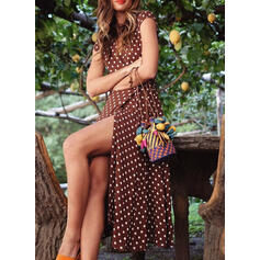 PolkaDot Cap Sleeve A-line Asymmetrical Casual/Vacation Skater Dresses