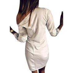 Minta 3/4-es ujjú Testre simuló ruhák Térdig érő φορέματα
