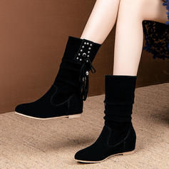 Women's Leatherette Flat Heel Flats Boots Mid-Calf Boots With Rivet Tassel shoes