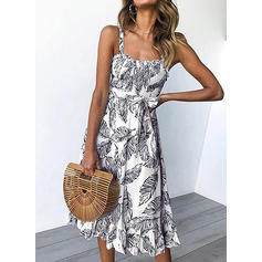 Print Sleeveless A-line Casual/Vacation Midi Dresses