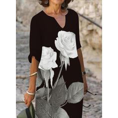 Imprimeu/Floral Mâneci la Jumătate Shift Elbiseleri Până la Genunchi gündelik Elbiseler