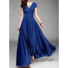 Solid Short Sleeves A-line Casual/Party Maxi Dresses