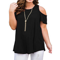 Solid Cold Shoulder Short Sleeves Casual Plus Size Blouses