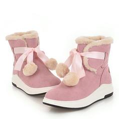 Femmes Suède Talon plat Plateforme Bottes Bottines Bottes neige avec Dentelle chaussures