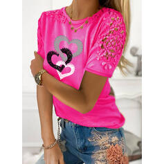Print Lace Beaded Heart Round Neck Short Sleeves Casual Blouses