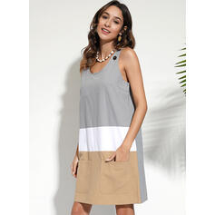 Color Block Sleeveless Shift Knee Length Casual/Vacation Dresses
