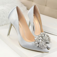 Bayanlar Saten Topuklu ayakkabı Pompalar Kapalı Toe Ile Yapay elmas ayakkabı