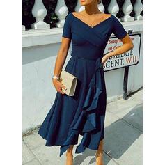 Solid Short Sleeves A-line Party/Elegant Midi Dresses