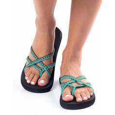De mujer Tejido Tacón plano Sandalias con Correa Trenzada zapatos
