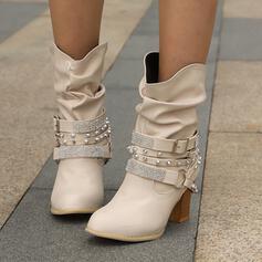 Bayanlar suni deri Tıknaz Topuk Orta Buzağı Çizmeleri Sivri parmak Ile Yapay elmas Perçin Toka Katı Renk ayakkabı