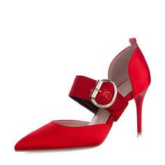 Femmes Satiné Talon stiletto Escarpins Bout fermé avec Boucle chaussures