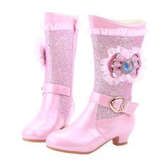 Flicka Stängt Toe Microfiber läder låg klack Stövlar Flower Girl Shoes med Bowknot Spänne Kristall