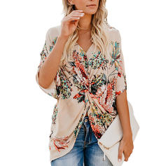 Floral V Neck 1/2 Sleeves Casual Blouses