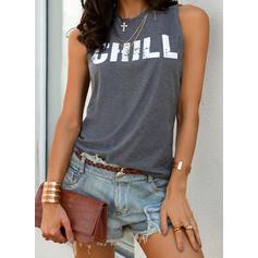Print Round Neck Sleeveless Casual Knit Tank Tops