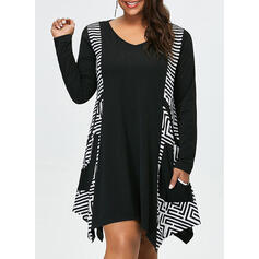 Print Long Sleeves Shift Knee Length Casual/Plus Size Dresses