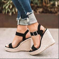 Dla kobiet PU Obcas Koturnowy Sandały Czólenka Otwarty Nosek Buta Z Klamra obuwie